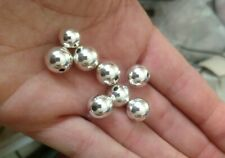 Nice Heavy 7 mm Sterling Silver Beads Smooth Round Seamless  40  Pcs !!