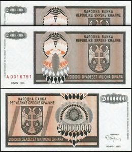 Croatia 20000000 - 20,000,000 Dinara Million,1993, UNC, 2 Pcs PAIR, P-R13a,A 001