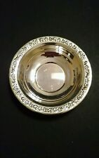 "Vintage SHERIDAN Rose Scroll Silver Plate Candy/Nut Dish/Bowl, 6.5"" dia"