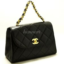 Authentic CHANEL Gold Chain Handbag Bag Black Leather Flap Quilted Lambskin 894
