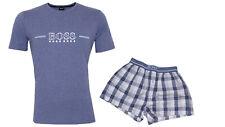 Hugo Boss Pyjama Urban  S blau/weiß Baumwolle Elasthan kurzarm Neu