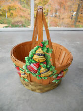 Vtg 50's 60's Christmas Holiday Gift Basket w Bells Woven Wood Decoration Retro
