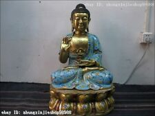 100% Pure Bronze handwork Cloisonne Lotus seat pagoda Sakyamuni Buddha statue