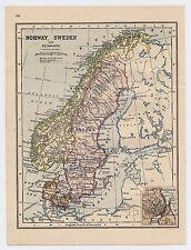 1911 ORIGINAL ANTIQUE MAP OF SCANDINAVIA NORWAY SWEDEN DENMARK / VERSO SPAIN