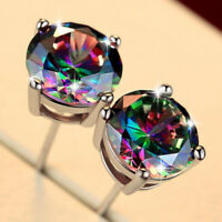 Round Square Natural Rainbow Mystic Fire Topaz Gems Silver Stud Hook Earrings