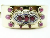 14K Yellow Gold & Platinum Antique Diamond & Ruby Bangle Bracelet