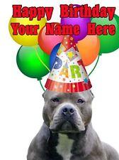 American Pit Bull Terrier Fiesta Tarjeta Cumpleaños a5 Tarjeta de felicitación de denuncia Personalizado