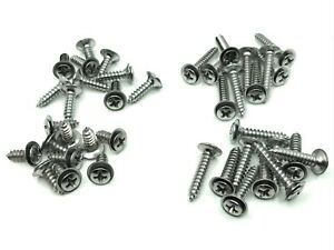 40 pcs 4 sizes #8 with #6 phillips oval head flush washer screws chrome