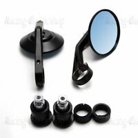 Round Motor Rear View Handle Bar End Rearview Side Black Cafe Racer Mirrors RC