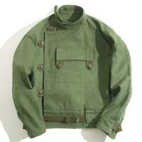 Vintage Swedish Motocycle Jacket Men's Workwear Army Green Canvas Loose Coat