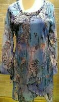 Pretty Angel Top Women's Sm,M,Lg,XLSnakeskin Layered Asymetrical Hem NWT blue