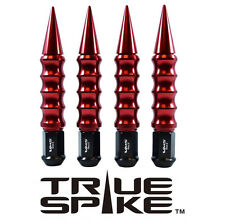 24 TRUE SPIKE 175MM 12X1.5 FORGED STEEL LUG NUTS W/ RED RIBBED EXTENDED SPIKES