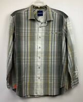 Tommy Bahama men's long sleeve button front shirt, Size XL, gray plaid