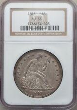 1845 $1 AU58 NGC. OC-1, R.2 Seated Liberty Dollar