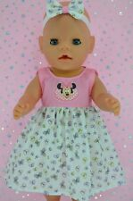 """Play n Wear Doll Clothes To Fit 17"""" Baby Born PINK/BUTTERFLY DRESS~HEADBAND"""