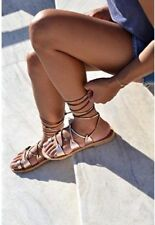 Savopoulos Leather Spartan Gladiator Sandals Lace Up Handmade In Greece US 8.5