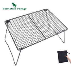 Titanium Charcoal BBQ Grill Net with Folding Legs Camping Beach Picnic