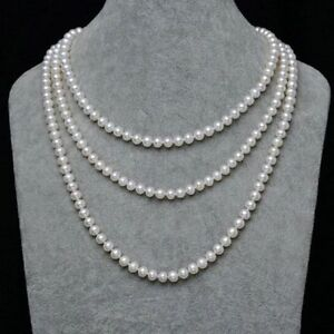 "20-35"" LONG NEW genuine AAA 5-6 mm white cultured freshwater pearl necklace"