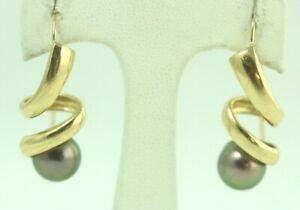 "14K Yellow Gold Swirl with 8mm Black Pearl Dangle Earrings, 1 1/4"" Drop"