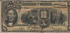 Mexico / El Banco De Londres Y Mexico 10 Pesos 1.10.1913   Circulated  Banknote