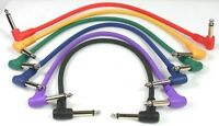 6-PACK Kirlin Color-Coded 1' Foot Ft Patch Cord Cable Right-Angle Molded Pedal