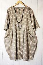 Moonshine Kleid Ballonkleid 48 50 52  Beige Lagenlook Pünktchen Dots Sommer Neu