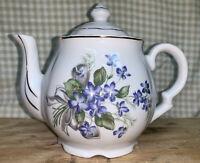 vintage porcelain blue / purple floral teapot