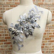 3D Flower Sequin Applique Motif Trims Wedding Bridal Embroidery Sew Crafts DIY