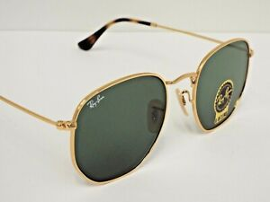 NEW Ray-Ban RB 3548N 001 Gold Hexagonal Flat Green Classic 54mm Sunglasses $193