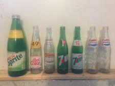 Vintage Collectible Glass Pepsi 7UP Hires Rootbeer Coke Sprite Soda Pop Bottles