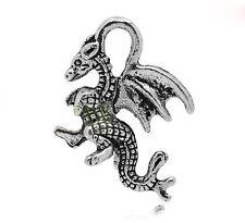 10 Tibetan Silver 3d  Dragon Pendant Charms
