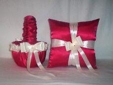 RED SATIN / IVORY CREAM RIBBON TRIM FLOWER GIRL BASKET & RING BEARER PILLOW #1