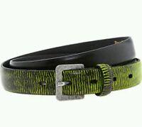 "DIESEL Bifiam Cintura Cow Leather Belt Black / Lime Size 95cm / 38""W"