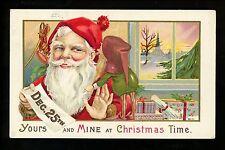 Christmas Santa postcard Red Robe w/ Elf Gnome Presents Vintage Series 68 F