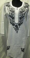 Elegance chikan embroidery long   cotton  kurta/top size 42