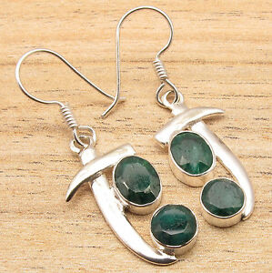 925 Silver Plated Simulated EMERALD 2 Gemstone Sword Style Earrings HANDCRAFTED
