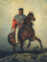 """oil painting handpainted on canvas """"Rebel leader riding on a horse """"@NO9997"""