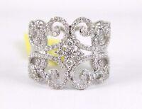 Round Diamond Filigree Curve Lady's Ring Band 14k White Gold 1.19Ct