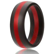 Silicone Wedding Ring Rubber Band Men Classic Solid Striped Black Red Size 16