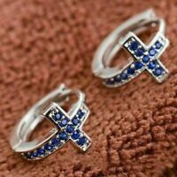 Details about  /14K White Gold Over 1.50 Ct Round Cut Blue Sapphire Huggie Hoop Earrings Women/'s