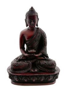Soprammobile Tibetano Dhyani Budda Amitabha IN Resina Bordeaux 13.5cm 9385 Bte 6