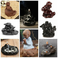 Black Porcelain Backflow Ceramic Cone Incense Burner Holder Buddhist + Cones
