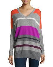 NEW autumn cashmere Striped Pure Cashmere V-neck Poncho Sweater top Size S