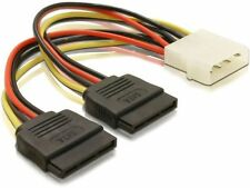 Molex IDE to SATA Power Splitter Cable 4 pin to 2x 15 pin For HDD, DVD,  Drives