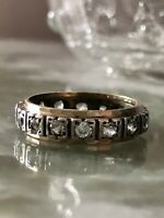 Antique full eternity ring 9ct gold and silver and paste size K