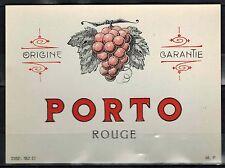 Etiquette de Vin -alcool -  Porto Rouge - Origine Garantie - Réf.n°117