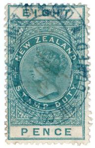 (I.B) New Zealand Revenue : Stamp Duty 8d (1880)