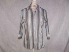 Fred David Small Shirt Crinkled Stretch Striped 3/4 Sleeves Front Buttons Womens