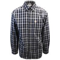 Carhartt Men's Relaxed Fit Grey Black Small Box Plaid L/S Woven Shirt (376)