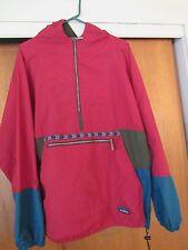 Vintage LL Bean Red Green Aztec Pullover Windbreaker Jacket Shell Hooded